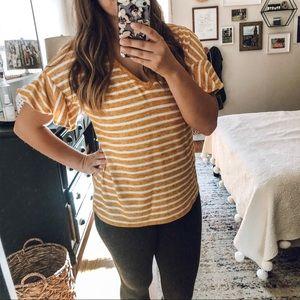 A New Day Mustard Stripe Ruffle Top
